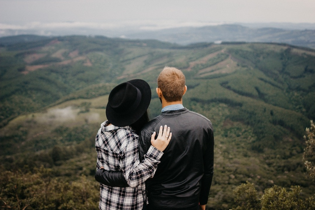 Couple enjoying a view together on couple's retreat
